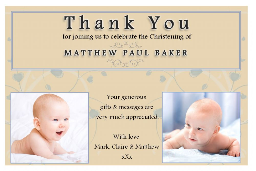 10 Personalised Christening Baptism Thankyou PHOTO Cards N193